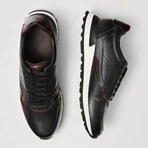 Massimodutti brown Trims leather retro sneakers