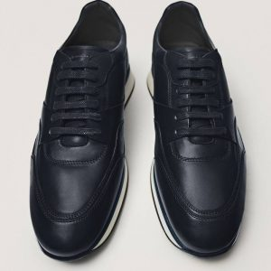 Massimodutti Navy leather retro Premium Brushed 2198/650/400