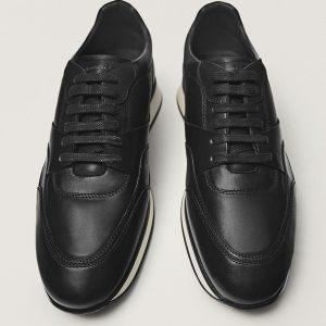 Massimodutti Black leather retro Premium Brushed 2771/650
