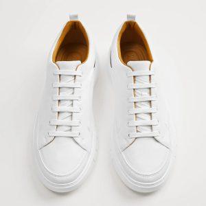 Zara White Brown Contrast Heel 2301/520